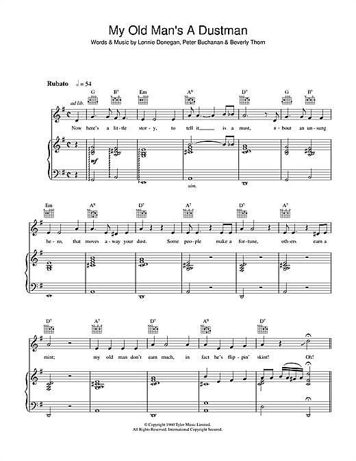 Lonnie Donegan My Old Man's A Dustman sheet music notes and chords - download printable PDF.