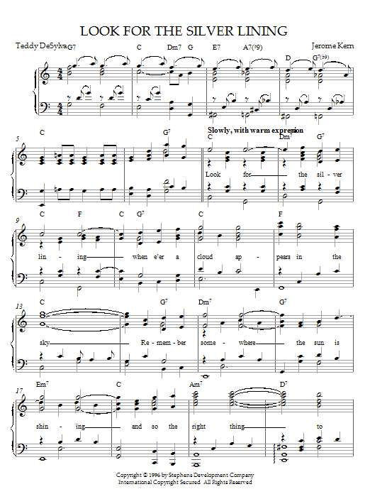 Jerome Kern Look For The Silver Lining (from Sally) sheet music notes printable PDF score