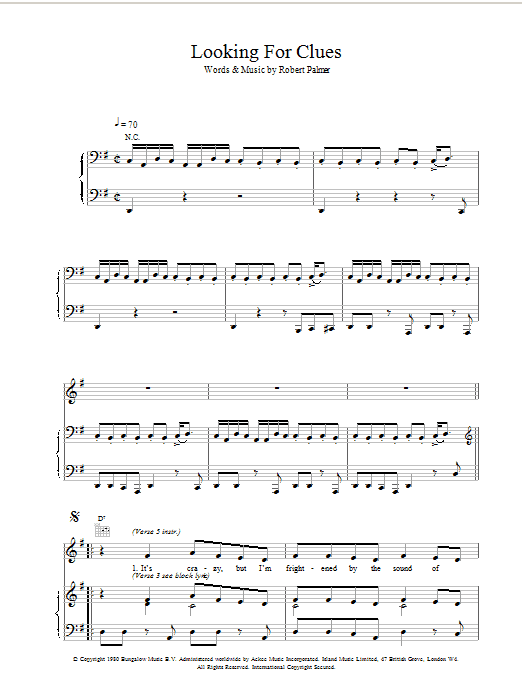 Robert Palmer Looking For Clues sheet music notes printable PDF score