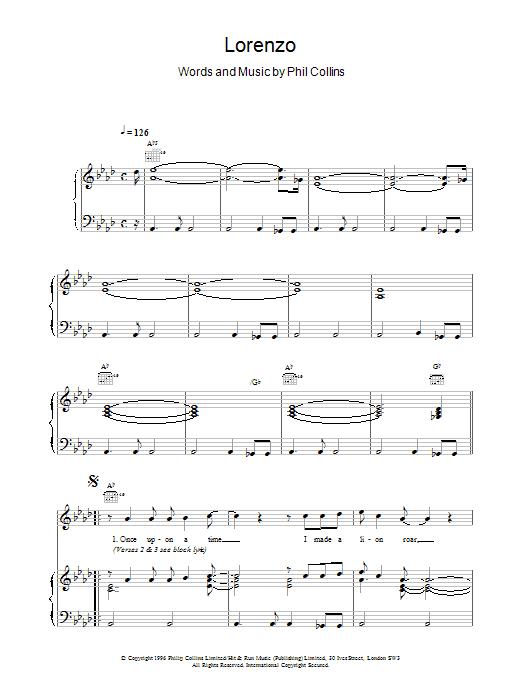 Phil Collins Lorenzo sheet music notes printable PDF score