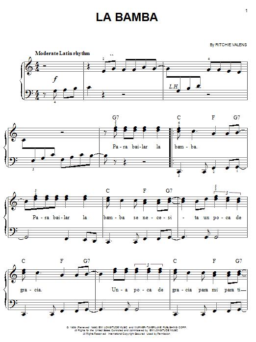 Los Lobos La Bamba sheet music notes and chords - download printable PDF.