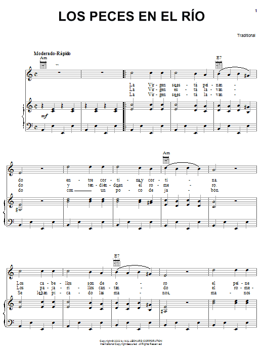 Traditional Los Peces En El Rio sheet music notes printable PDF score