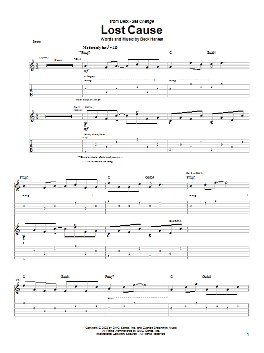 Beck Lost Cause sheet music notes printable PDF score
