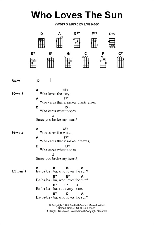 Lou Reed Who Loves The Sun sheet music notes and chords. Download Printable PDF.