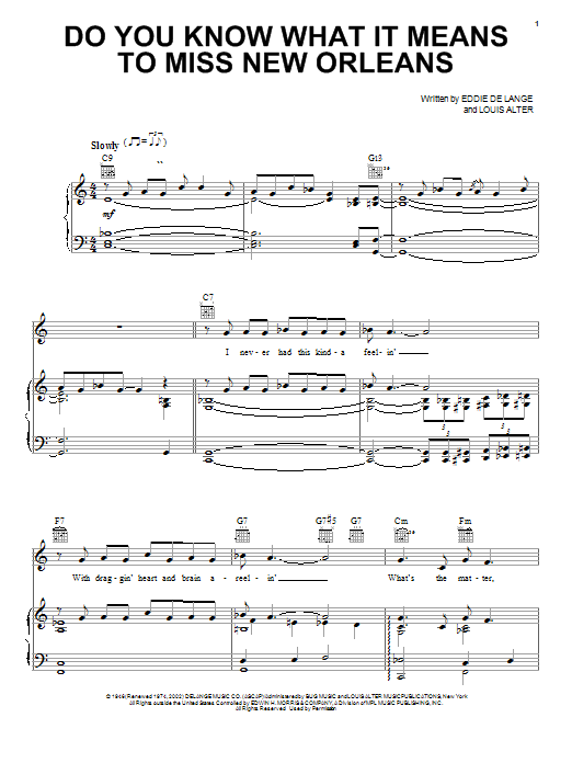 Louis Armstrong Do You Know What It Means To Miss New Orleans sheet music notes and chords. Download Printable PDF.