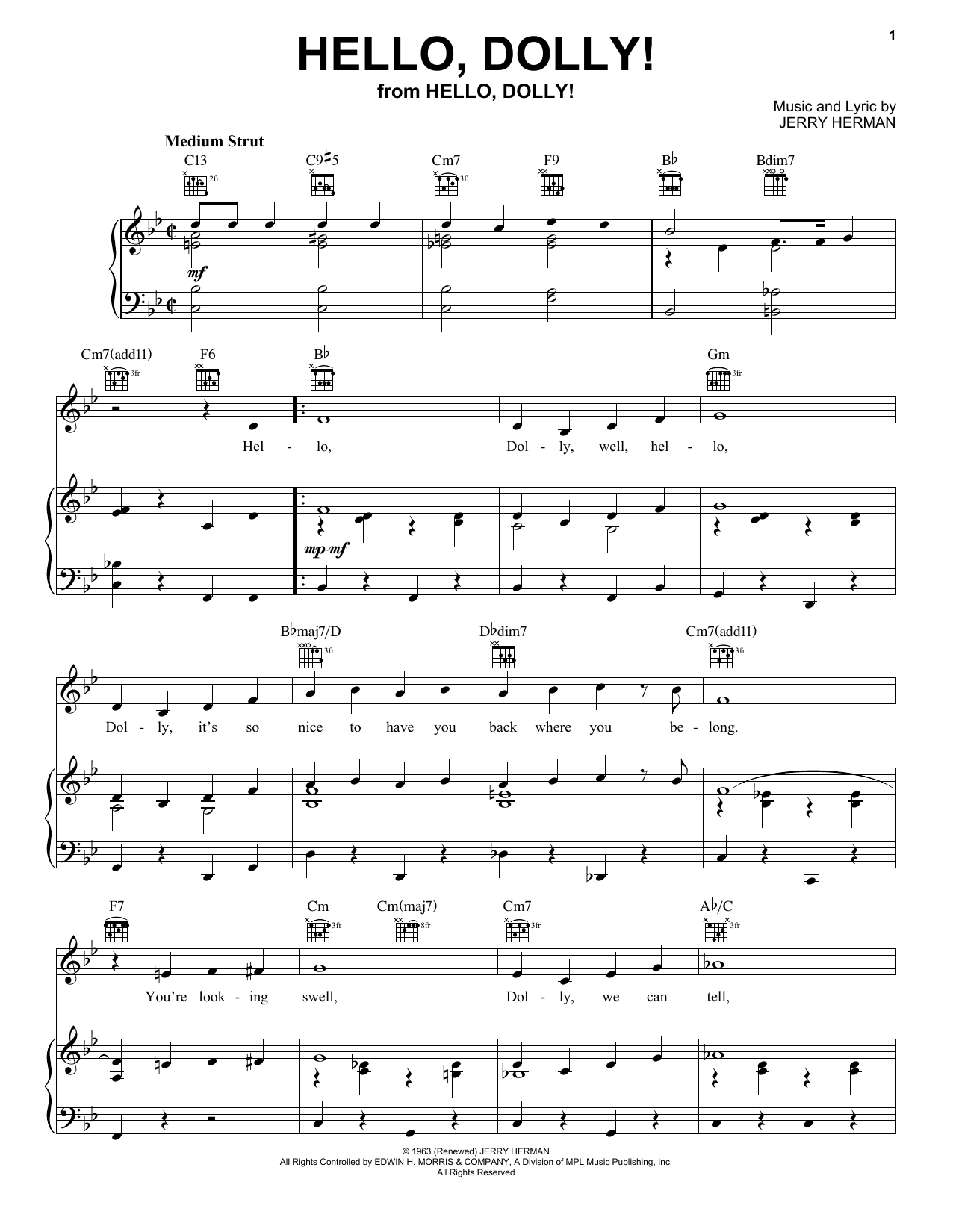 Louis Armstrong Hello, Dolly! sheet music notes and chords. Download Printable PDF.