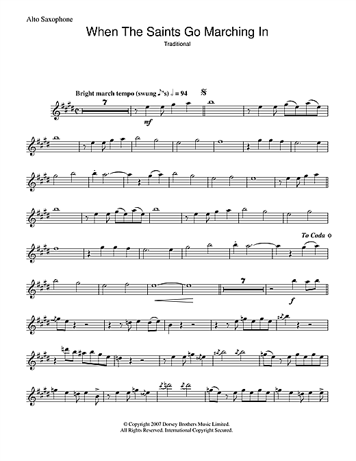 Louis Armstrong When The Saints Go Marching In sheet music notes and chords - download printable PDF.