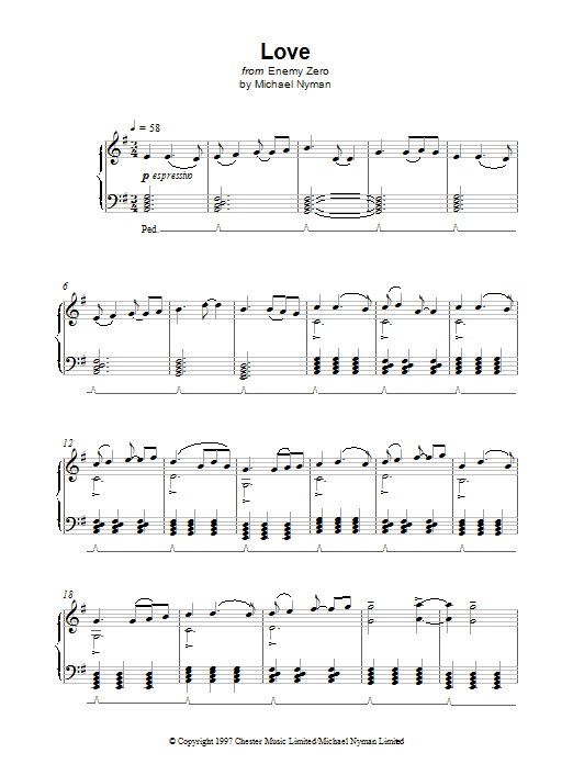 Michael Nyman Love (from Enemy Zero) sheet music notes printable PDF score