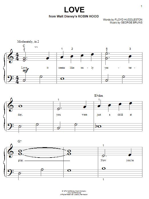 Floyd Huddleston Love (from Walt Disney's Robin Hood) sheet music notes printable PDF score