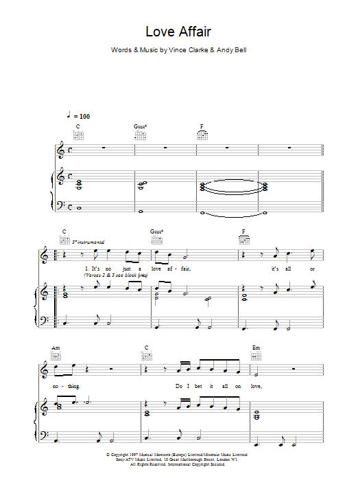Erasure Love Affair sheet music notes printable PDF score