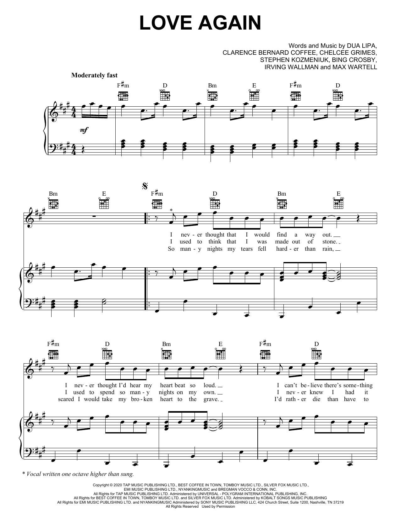 Dua Lipa Love Again sheet music notes printable PDF score