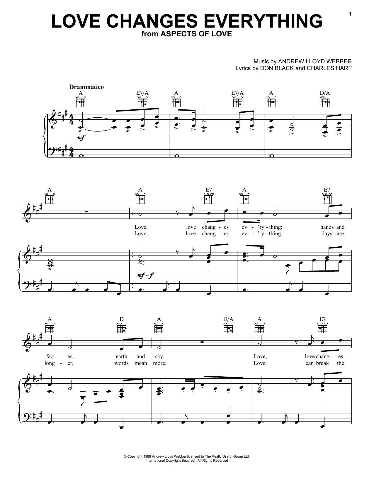 Andrew Lloyd Webber Love Changes Everything sheet music notes printable PDF score