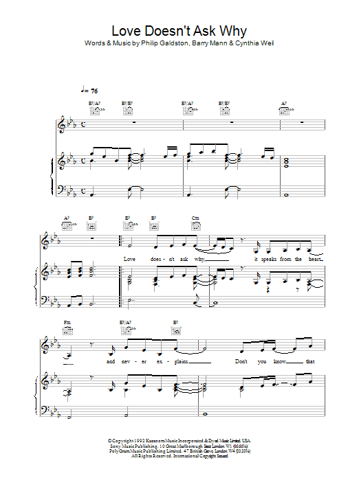 Celine Dion Love Doesn't Ask Why sheet music notes printable PDF score