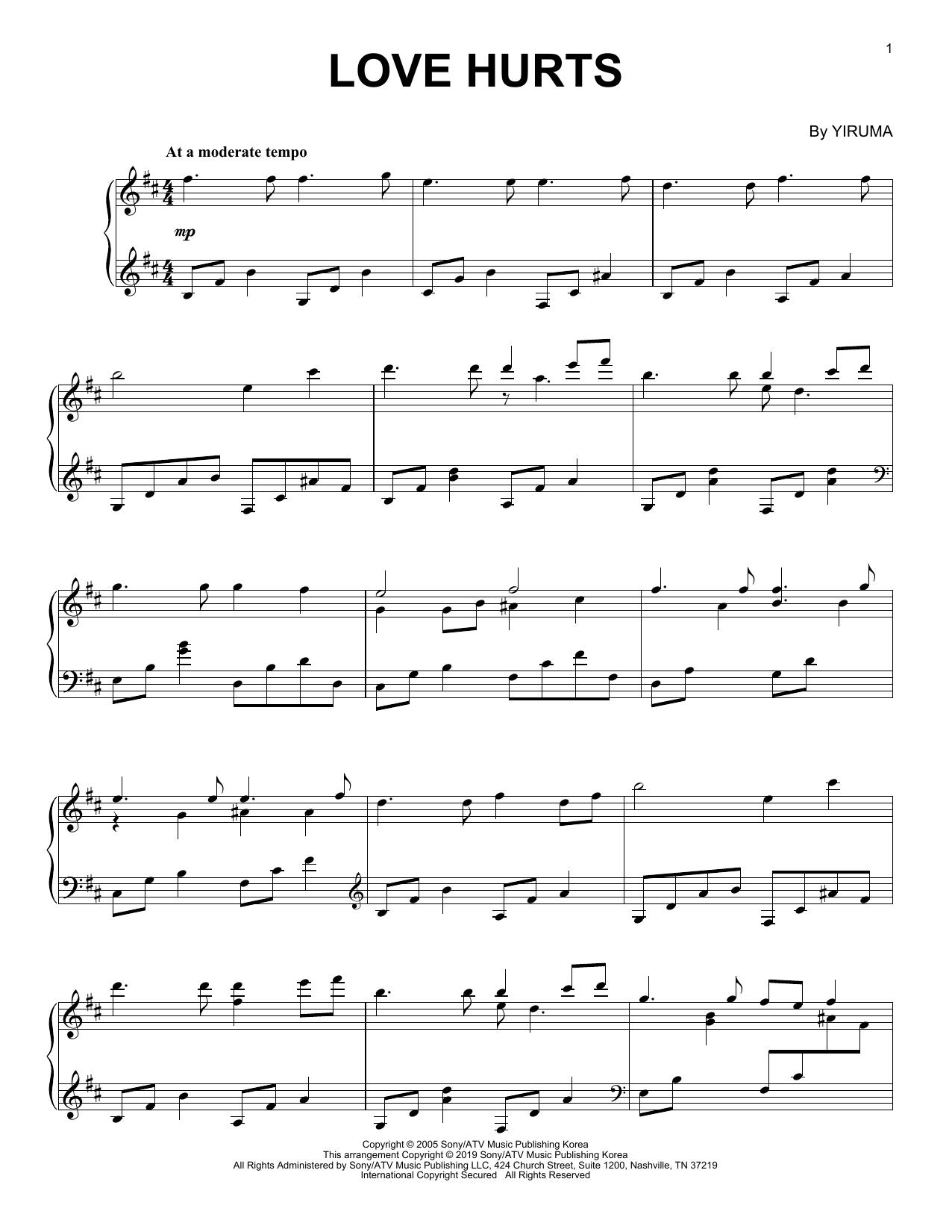 Yiruma Love Hurts sheet music notes printable PDF score