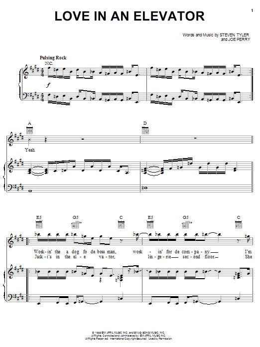 Aerosmith Love In An Elevator sheet music notes printable PDF score