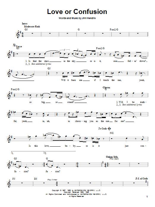 Jimi Hendrix Love Or Confusion sheet music notes printable PDF score