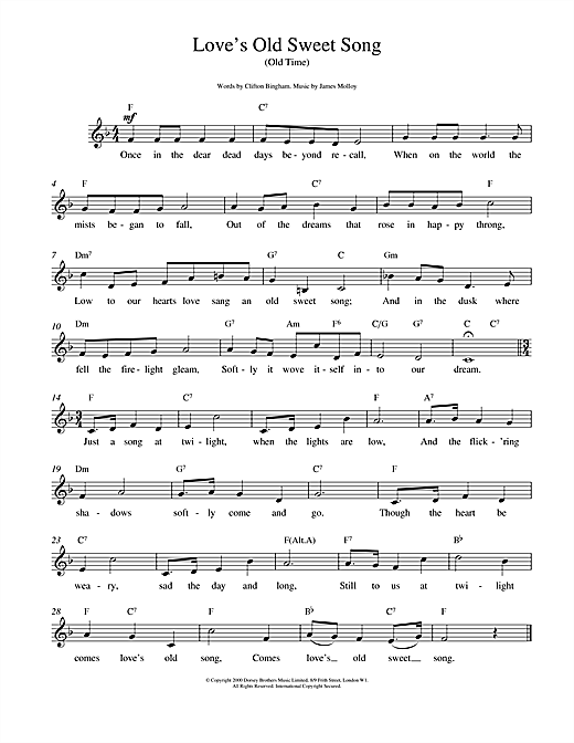 James L. Molloy Love's Old Sweet Song sheet music notes printable PDF score