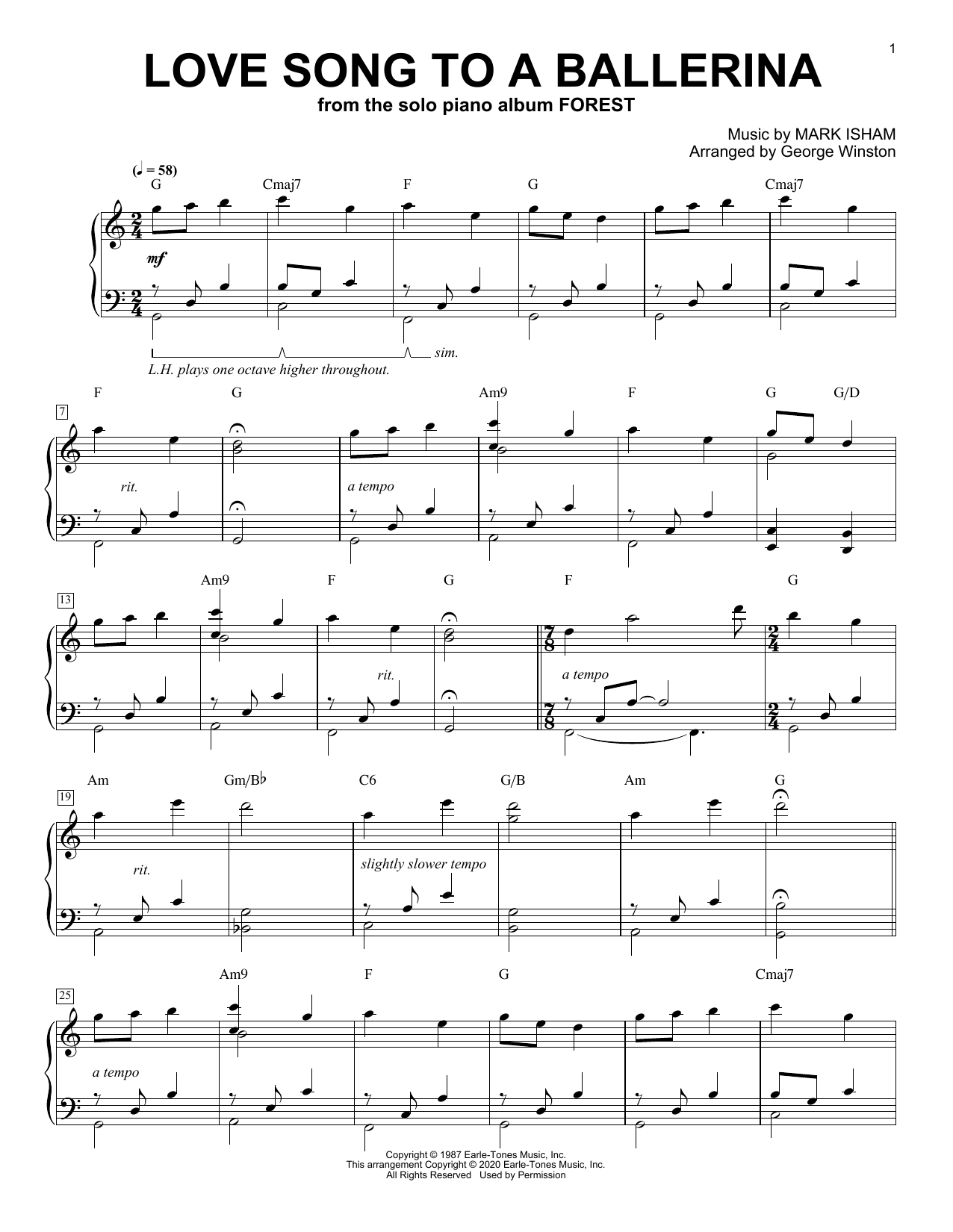 George Winston Love Song To A Ballerina sheet music notes printable PDF score
