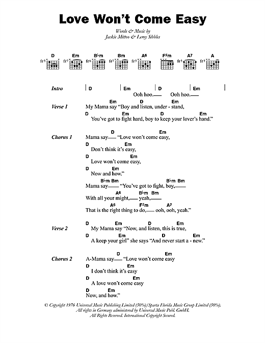 The Heptones Love Won't Come Easy sheet music notes printable PDF score