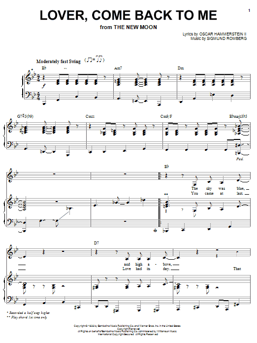 Barbra Streisand Lover, Come Back To Me sheet music notes printable PDF score