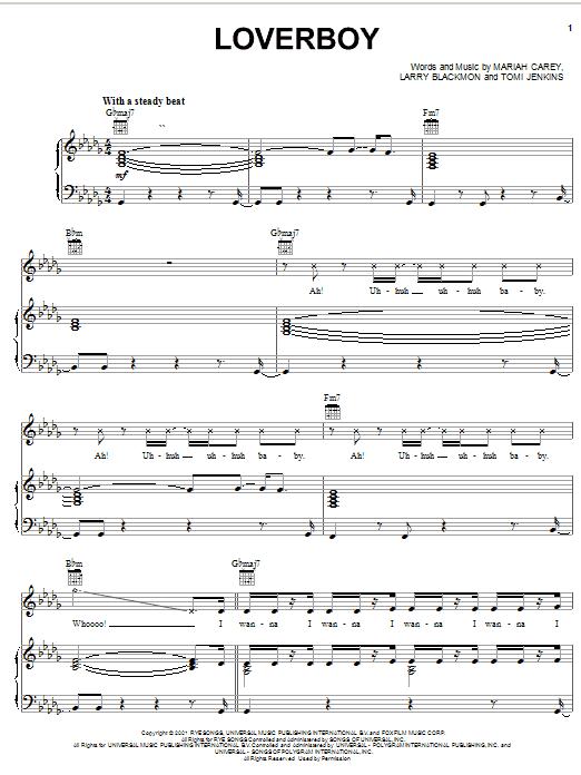 Mariah Carey Loverboy sheet music notes printable PDF score