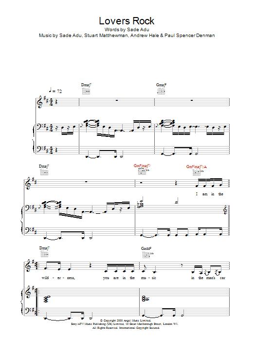 Sade Lovers Rock sheet music notes printable PDF score