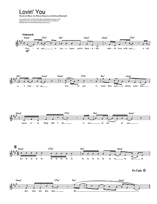 Minnie Riperton Lovin' You sheet music notes printable PDF score