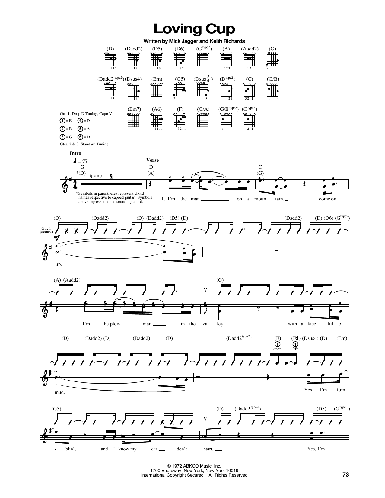 The Rolling Stones Loving Cup sheet music notes printable PDF score
