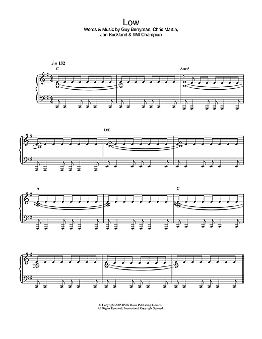 Coldplay Low sheet music notes printable PDF score