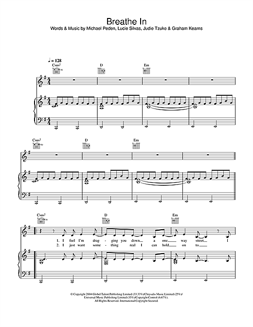Lucie Silvas Breathe In sheet music notes printable PDF score