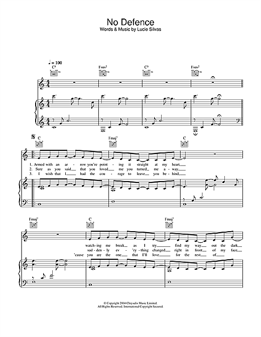 Lucie Silvas No Defence sheet music notes printable PDF score