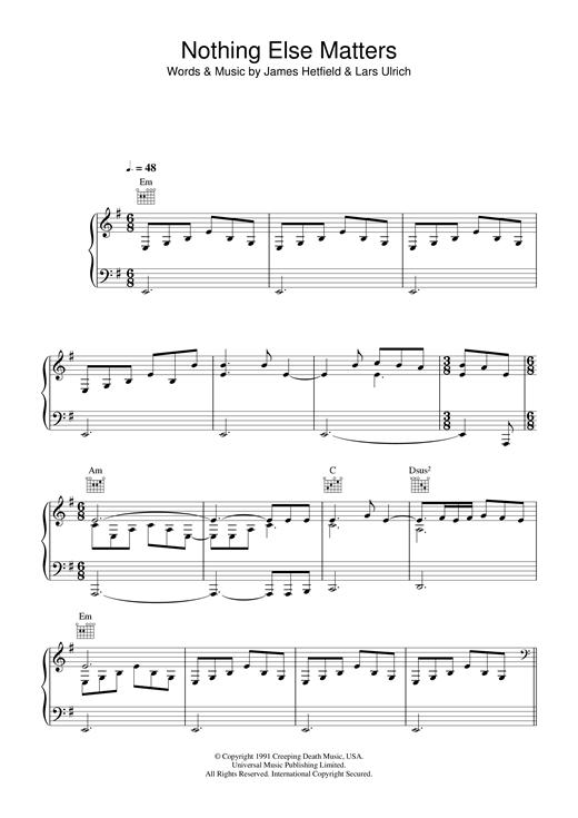 Lucie Silvas Nothing Else Matters sheet music notes printable PDF score