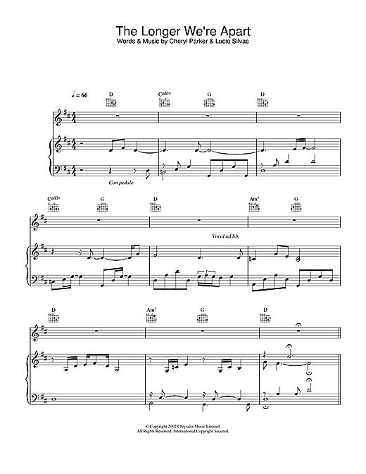 Lucie Silvas The Longer We're Apart sheet music notes printable PDF score