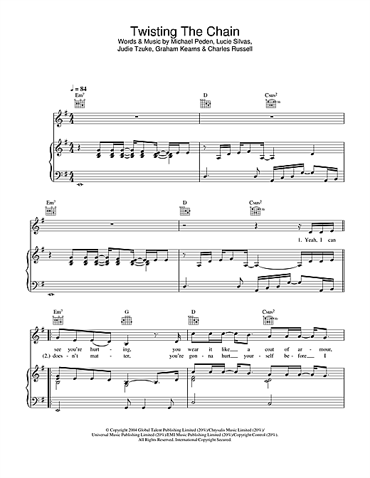 Lucie Silvas Twisting The Chain sheet music notes printable PDF score