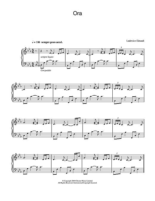 Ludovico Einaudi Ora sheet music notes printable PDF score
