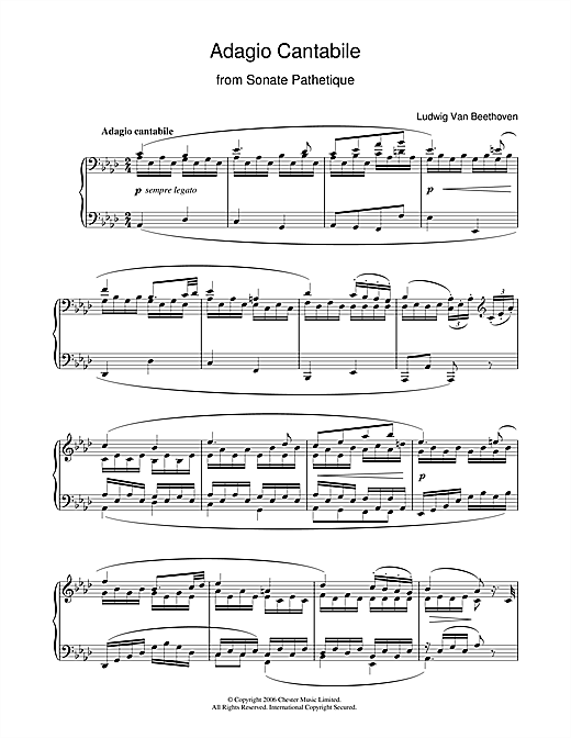 Ludwig van Beethoven Adagio Cantabile from Sonate Pathetique Op.13, Theme from the 2nd Movement sheet music notes printable PDF score