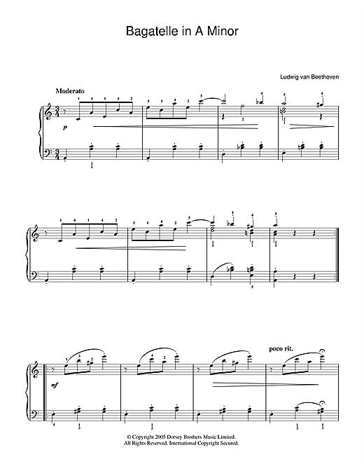 Ludwig van Beethoven Bagatelle In A Minor sheet music notes printable PDF score