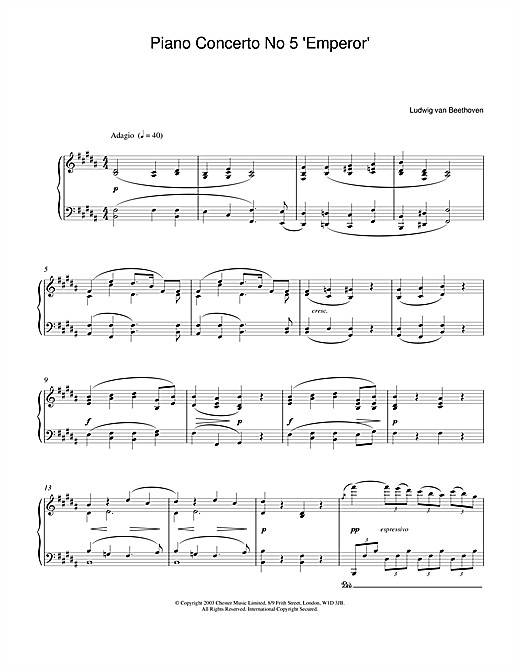 Ludwig van Beethoven Piano Concerto No.5 (Emperor), E Flat Major, Op.73, Theme from the 2nd Movement sheet music notes printable PDF score