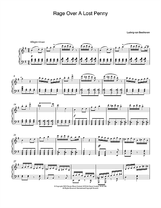 Ludwig van Beethoven Rondo A Capriccio (Rage Over A Lost Penny), Theme from Op.129 sheet music notes printable PDF score