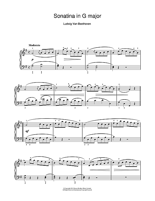 Ludwig van Beethoven Sonatina In G Major (1st Movement) sheet music notes printable PDF score