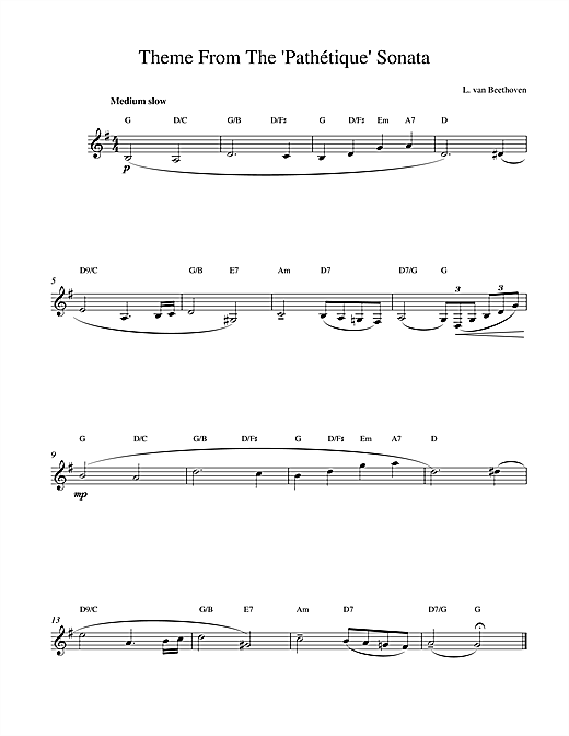 Ludwig van Beethoven Theme From Pathetique Sonata sheet music notes printable PDF score
