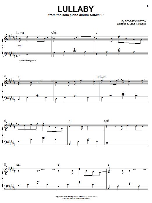 George Winston Lullaby sheet music notes printable PDF score