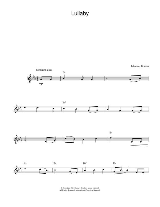 Johannes Brahms Lullaby sheet music notes printable PDF score
