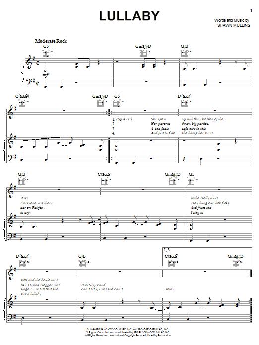 Shawn Mullins Lullaby sheet music notes printable PDF score