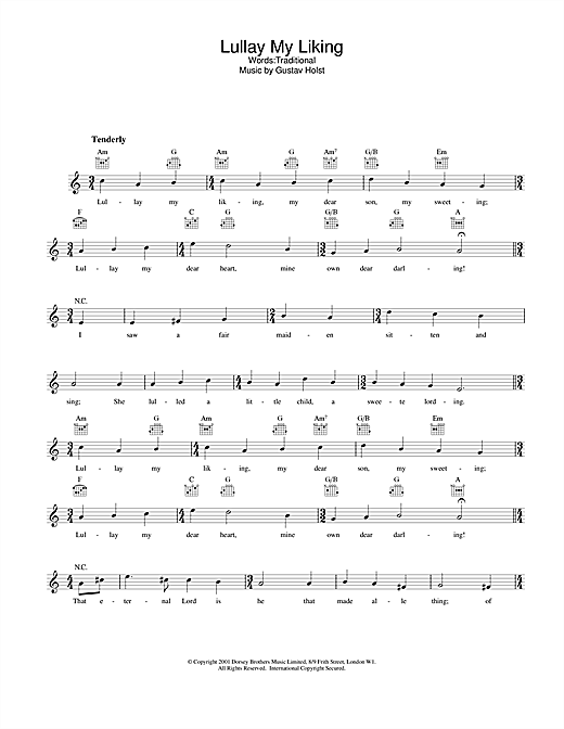 Traditional Lullay My Liking sheet music notes printable PDF score
