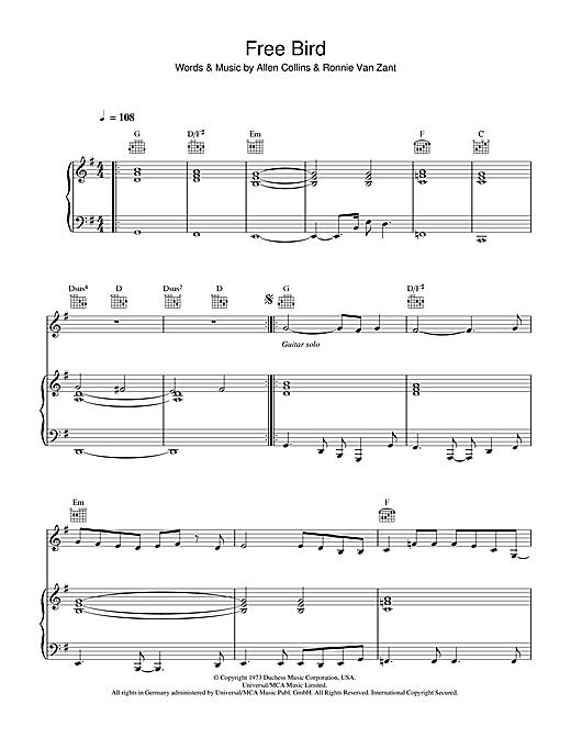 Lynyrd Skynyrd Free Bird sheet music notes and chords. Download Printable PDF.