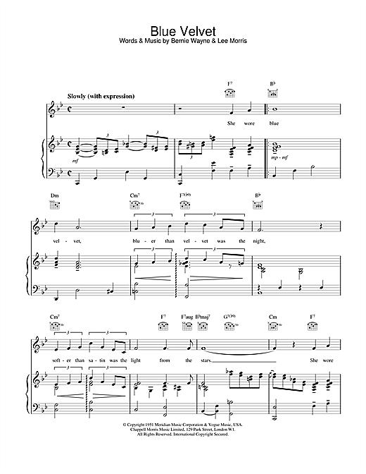M People Blue Velvet sheet music notes printable PDF score