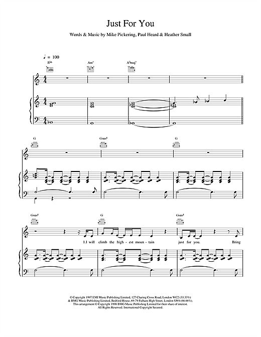 M People Just For You sheet music notes printable PDF score