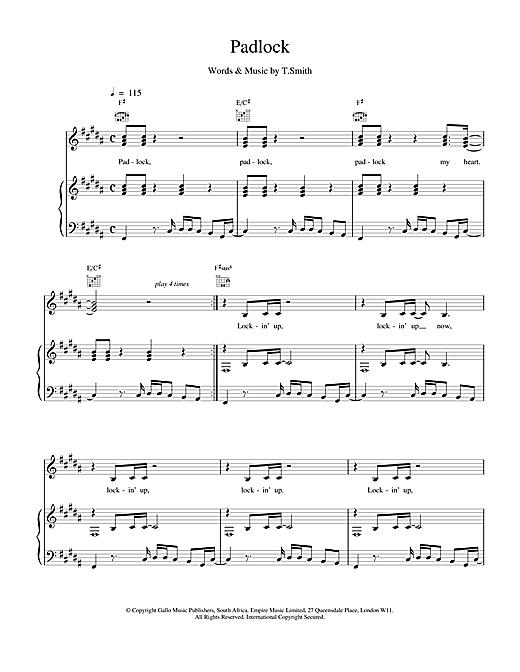 M People Padlock sheet music notes printable PDF score