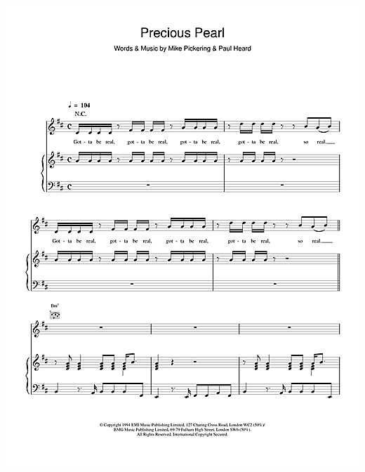 M People Precious Pearl sheet music notes printable PDF score